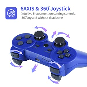 PS3 Controller, Wireless PS3 Controller Double Shock Gamepad for Playstation 3, Sixaxis Controller with Charging Cable (Blue) (Color: blue)