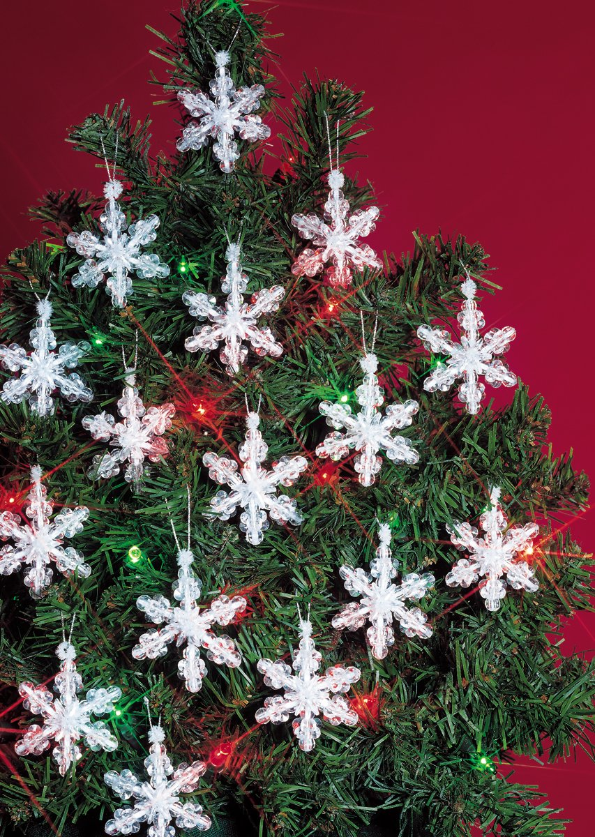 Beadery Holiday Beaded Ornament Kit, 2-Inch, Mini Snowflakes, Makes 24 Ornaments