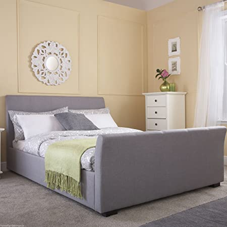 "Hf4you Hannover Fabric Upholstered Bedstead - 5FT KIngsize - Grey - 6"" Memory Foam Mattress"