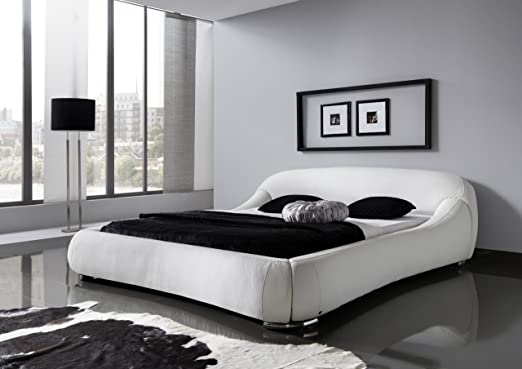 Meise Möbel 329-10-50000 Polsterbett Picasso mit Kunderlederbezug, creme Liegefläche circa 180 x 200 cm, weiß