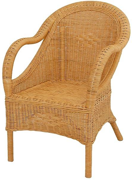 Bequemer Sessel mit schönen Flechtmustern / Lounger aus echtem Rattan in der Farbe Honig