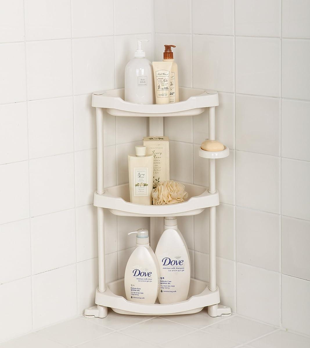 Tenby Living Corner Shower Caddy 3 Shelf Shower Organizer Caddie With Movab