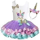 Kirei Sui Girls Lavender Pastel Satin Trimmed Tutu Birthday Unicorn XS One