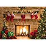 SJOLOON 8X6FT Christmas Photography Backdrop Christmas Decoration Background Xmas Fireplace Holiday Photo Backdrop Children Photo Studio 11209 (Color: 11209, Tamaño: 8X6FT)