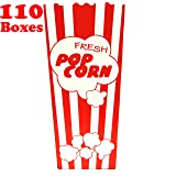110 Individual Disposable Popcorn Boxes with Old Fashion Vintage Retro Design with Red and White Colored, Nostalgic Carnival Stripes, A Huge 7.75