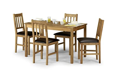 Julian Bowen Coxmoor Rectangular Dining Table Set with 4 Chairs, Light Oak