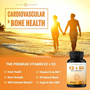 8122e66890f Vitamin K2 MK7 with D3 Supplement for Strong Bones   Healthy Heart - Premium  Vitamin D ...