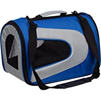 Pet Life Airline Approved Folding Zippered Sporty Mesh Pet Carrier (Blue & Grey)