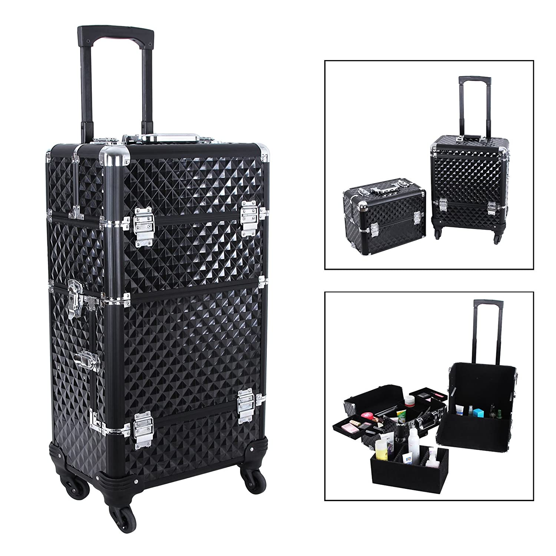 Songmics Aluminium Rolling Makeup Case Beauty Trolley with Lift Handle Cosmetic Organizer Box shunwei sd 1604 mini flexible rolling door storage organizer case box black