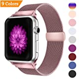 YOUKEX Bandx Milanese Loop Replacement Band Compatible Apple Watch 38mm 42mm,Stainless Steel Mesh Band with Magnetic Closure for iWatch Series 3 Series 2 Series 1 (Color: Rose Gold, Tamaño: 42mm/44mm)