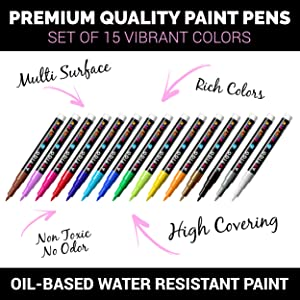 Fine Tip Paint pens for Rock Painting - Wood, Glass, Metal and Ceramic Works on Almost All Surfaces Set of 15 Vibrant Oil Based fine Point Paint Markers, Quick Dry, Water Resistant