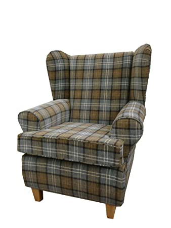 Beige Tartan Fabric Queen Anne With a Deep Base design...wing back fireside high back chair. Ideal bedroom or living room furniture