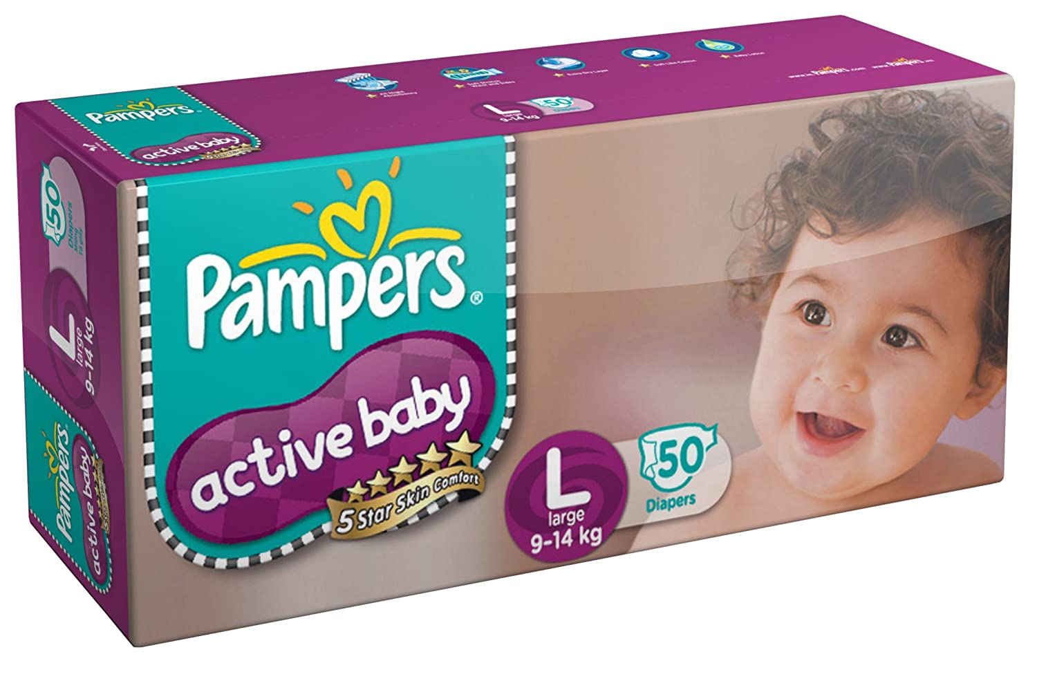 Buy 50 Count Pampers Active Baby Diapers at Rs 589 Large Size