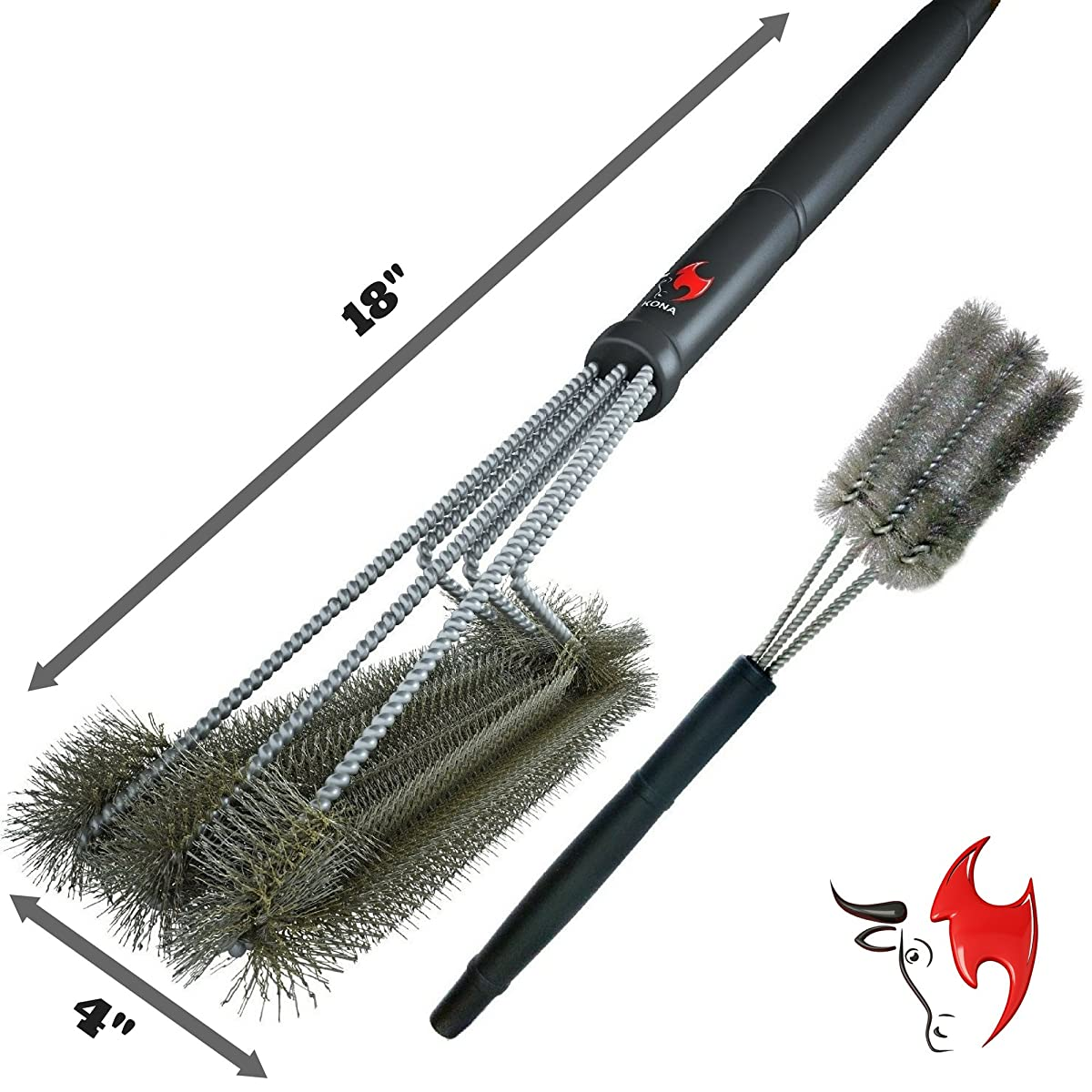 """360° Clean Grill Brush, Kona 18"""" Best BBQ Grill Brush - Stainless Steel 3-In-1 Grill Cleaner Provides Effortless Cleaning, Great Grill Accessories Gift"""