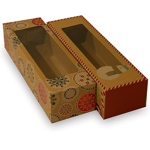 Christmas Doughnut and Cookie gift boxes; rectangle with clear window; brown kraft with hot stamp Christmas designs; 6 of each print; set of 12 boxes (12 x 3.75 x 2.75) (12, 12 x 3.75 x 2.75) (Color: Multicolor, Tamaño: 12 x 3.75 x 2.75)