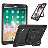 Fintie iPad 9.7 Inch 2018/2017 Case - [Tuatara Magic Ring] 360 Rotating Multi-Functional Grip Stand Shockproof Fully-Body Rugged Cover with Built-in Screen Protector, Also Fit iPad Air 2, Black (Color: Black, Tamaño: 9.7 Inch)