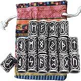 MYAROMA FINDINGS 24pcs/Kit Norse Vikings Runes Beads for Beards Hair Paracord Pendants &Bracelets DIY