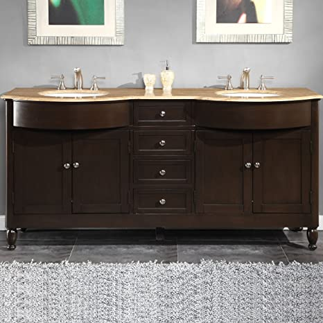 Silkroad Exclusive HYP-0717-T-UWC-72 Travertine Stone Top Double Sink Bathroom Vanity with Furniture Bath Cabinet, 72-Inch