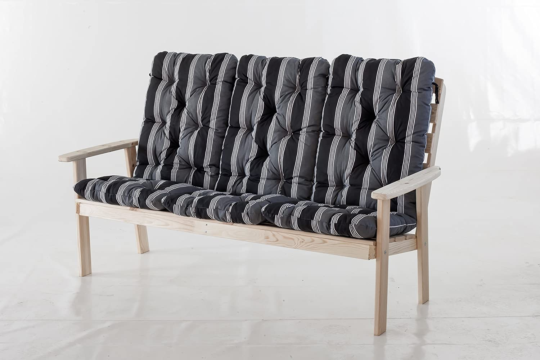 Trendy-Home24 3er Massivholz Bank Hanko MAXI natur Gartenbank 3-Sitzer Holzbank inklusive Auflagen Kissen günstig kaufen