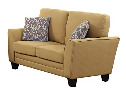 Homelegance 8413YW-2 Fully Upholstered with Piping Trim Linen Like Fabric Yellow Love Seat