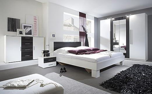 Schlafzimmer-Set VERA Schwebeturenschrank Kommode Nachttisch Bett (Bett 180 x 200 cm, weiß matt + nußbaum schwarz)