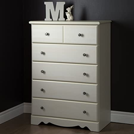 South Shore Country Poetry 5-Drawer Chest, White Wash
