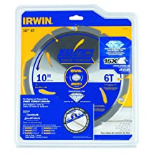 Irwin Tools 4935624 10-Inch x 6T Polycrystalline Diamond Fiber Cement Circular Saw Blade with 5/8-Inch Arbor