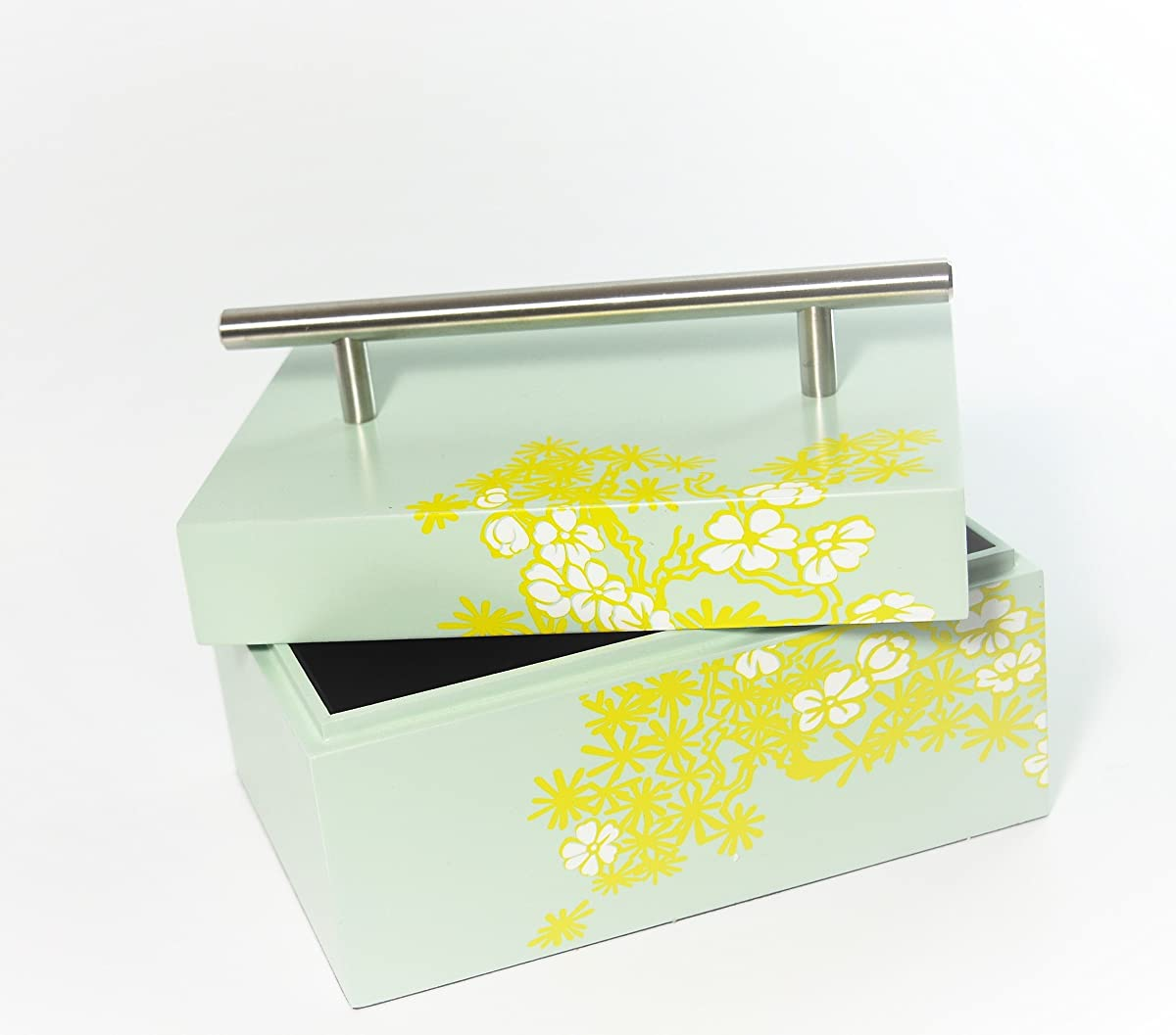 box storage laquer box cheery bloom light green paint lift lid with stainless handle
