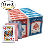 WINNER 12 Deck Wide-Size Regular Index Casino Quality Black Core Linen Finish Coated Poker Playing Cards,Set of 12 decks (6 blue, 6 red) (Color: Pack 12-Regular Index, Tamaño: Pack 12-Regular Index)