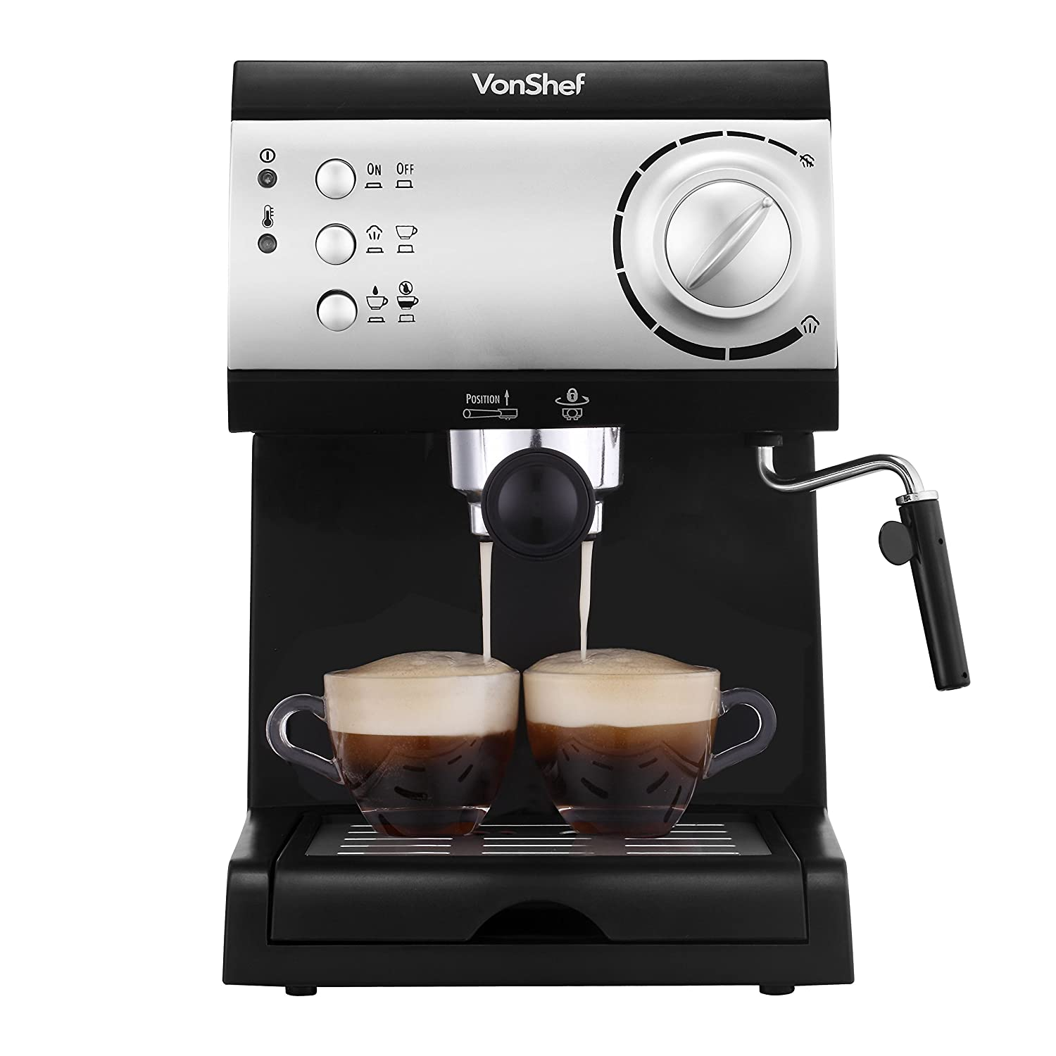 VonShef Electric 15 Bar Automatic Espresso and Cappuccino Coffee Maker Machine