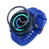 ANCOOL Compatible Samsung Galaxy Watch 42mm/Gear Sport Bezel Ring Adhesive Cover Anti Scratch Stainless Steel Protector Design for Galaxy Watch 42mm/Gear Sport -Blue (Color: Q-03, Tamaño: 42mm)