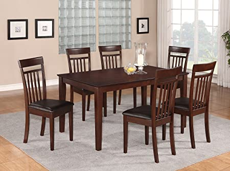 East West Furniture CAP7S-MAH-LC 7-Piece Dining Table Set