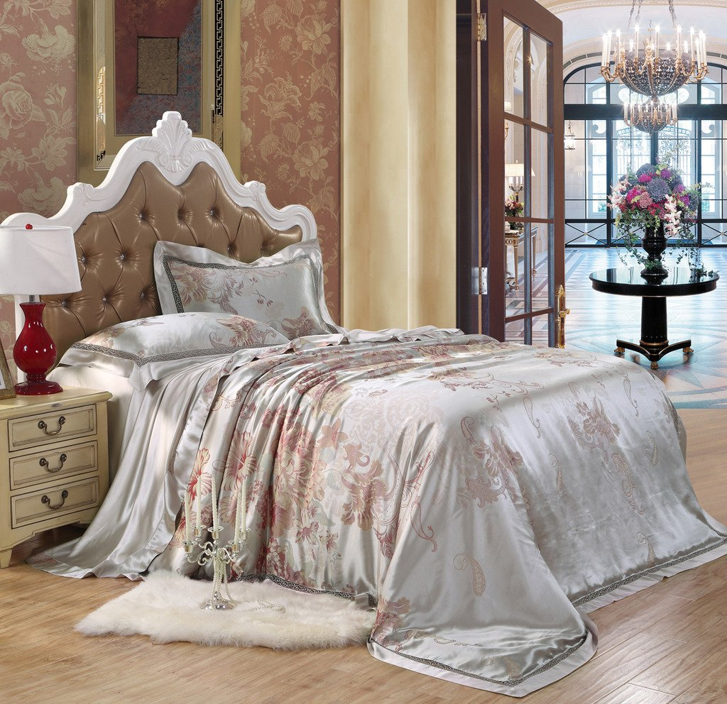 Orifashion Limited Edition 5-Piece Luxury 100% No-dyeing Nature Colour Silk Jacquard Bedding Set With Peony Pattern, California King Size