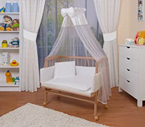 WALDIN Baby Bedside Cot Co Sleeper height adjustable,untreated, 6 colours available       Babyreview and more news