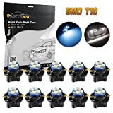Partsam 10pcs Ice Blue T10 194 LED Bulbs Instrument Panel Dash Ligths with Sockets 16mm Hole Diameter