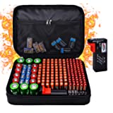 Fireproof Battery Organizer Storage Box Waterproof Explosionproof, Hard Safe Box Fits 200 Batteries Case - with Tester BT-168, Carrying Container Bag Energy Batteries AA AAA C D 9V Iithium 3V Holder (Color: Standard)
