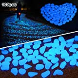 Amagabeli 100 Pcs Glow in the Dark Pebbles for Walkways Décor Glow Stones Rocks for Garden Outdoor Decorative Luminous Pebbles Gravel Fairy Garden Pathway Walkway Fish Tank Aquarium Ornaments in Blue (Color: Blue, Tamaño: 100PCS)