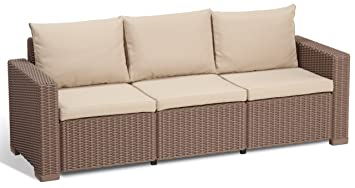 Allibert Lounge Sofa, Balkon, California, Beige, 3-Sitzer Lounge Sofa Rattan , 199 x 68 x 72 cm