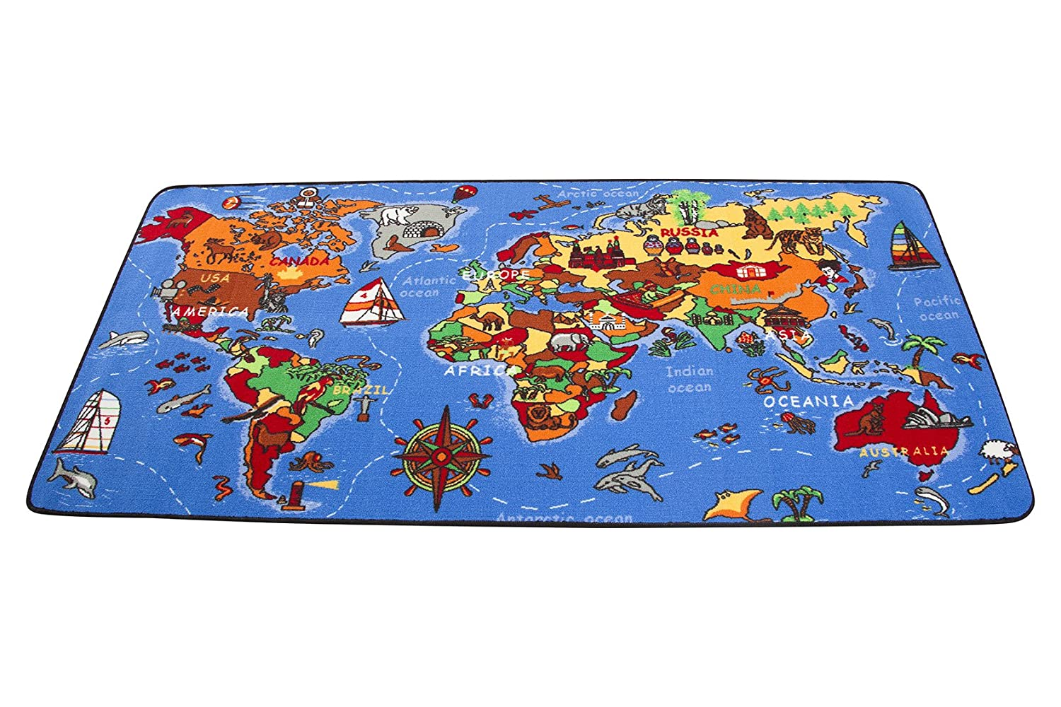 Kid Toy Learn Rug Carpet World Map Floor Child Educational