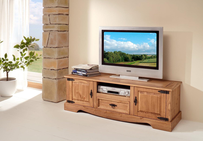 TV-Lowboard in antik gewachst aus massiver Kiefer; Maße (B/H/T) in cm: 140x 45 x 45