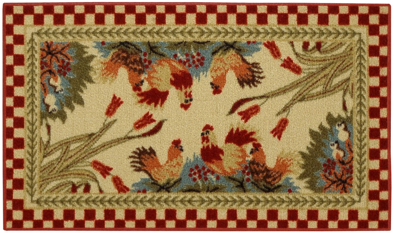 Rooster Checkered Non Slip Non Skid Kitchen Mat Rubber Back Rug 18 X 31 Cuc5 Ebay