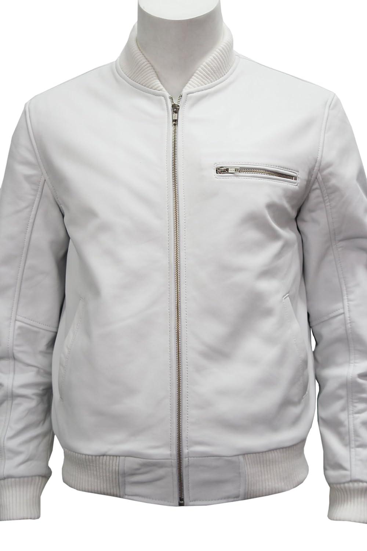 '70'S RETRO BOMBER' Men's White Cool Classic Soft Italian Nappa Leather Jacket