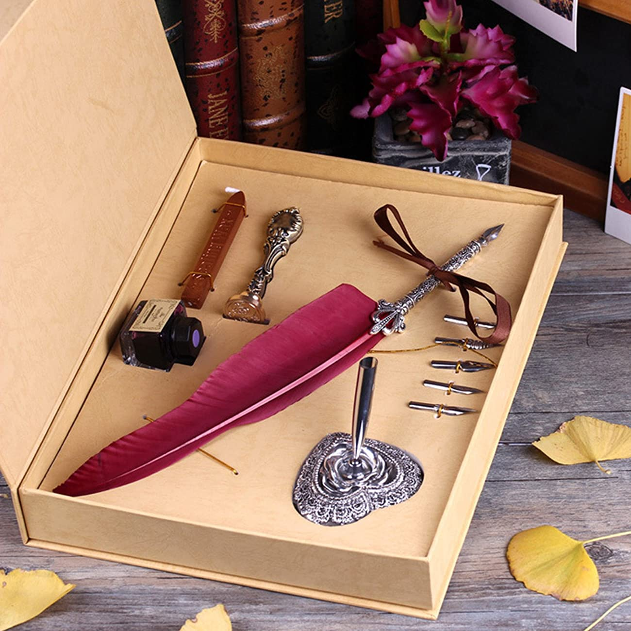 Toyofmine Antique Feather Pen Set (5 Extra Calligraphy Nibs,1 Feather Pen,1 Seal Wax Stick and Stamp with 1 Ink Pot , 1 Pen Holder and 1 Box) 1