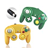 Reiso 2 Packs NGC Controllers Classic Wired Controller for Wii Gamecube(Light Orange and Green) (Color: Light Orange and Green)