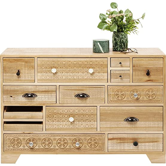 Kare Design–Cassettiera 14cassetti in legno chiaro etnica Purezza