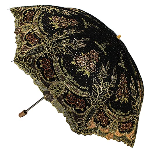Vintage Style Parasols and Umbrellas Parasol Fashion Sequin Flowers Lace Embroidery $41.99 AT vintagedancer.com
