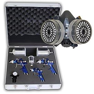 TecTake® 3x HVLP Lackierpistole Spritzpistole + Koffer + Lackiermaske 1,7 + 1,3 + 0,8mm  BaumarktKundenbewertung und weitere Informationen