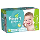 Pampers Baby-Dry Disposable Diapers Size 4, 128 Count, GIANT, Packaging may vary (Tamaño: 4)