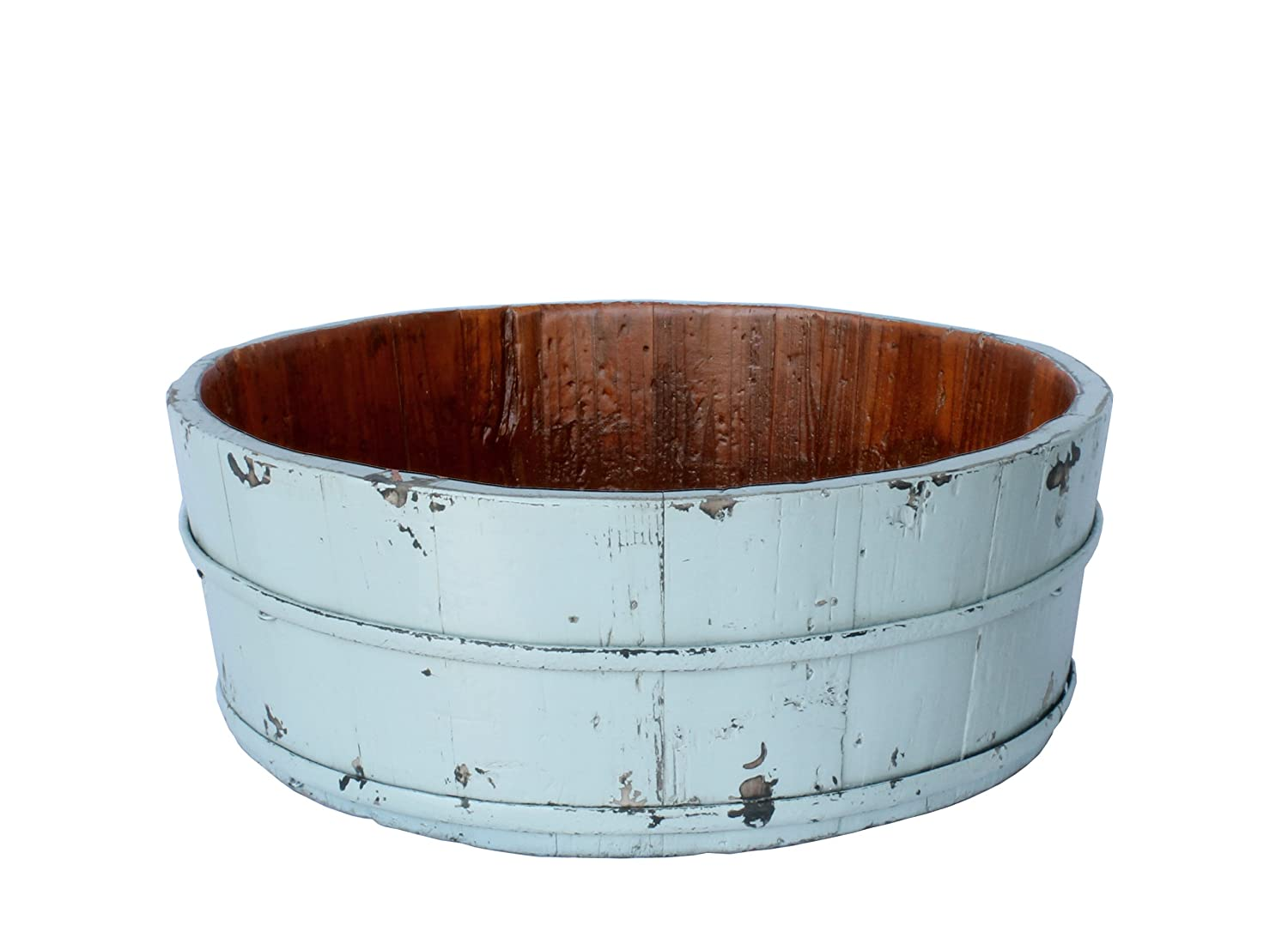 Antique Revival Wooden Round Basin Bucket, Aqua luxury antique wooded