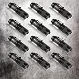 Timlon 12 Pack Tactical Flashlight Water Resist 7W 350lm Ultra Bright Mini Cree Q5 Led 3 Mode Flashlight Torch Adjustable Focus Zoomable Light Lamp (Black)